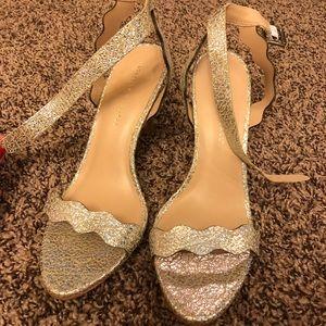 Lowffler Randall silver crinkle heels